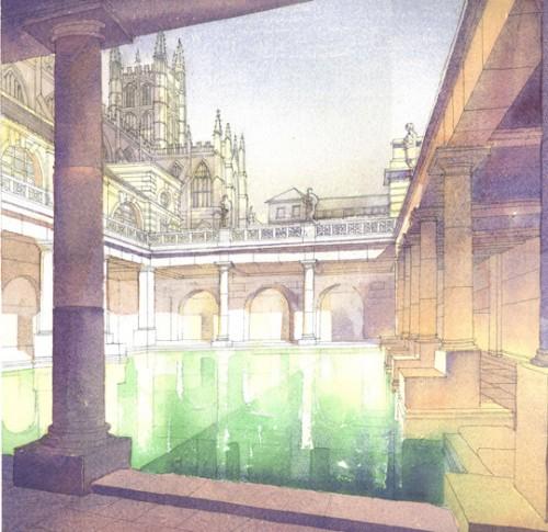 david wardman architectural illustrations: roman baths